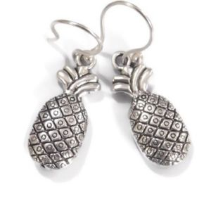 925 Silver Wire Solid Pewter Pineapple Earrings